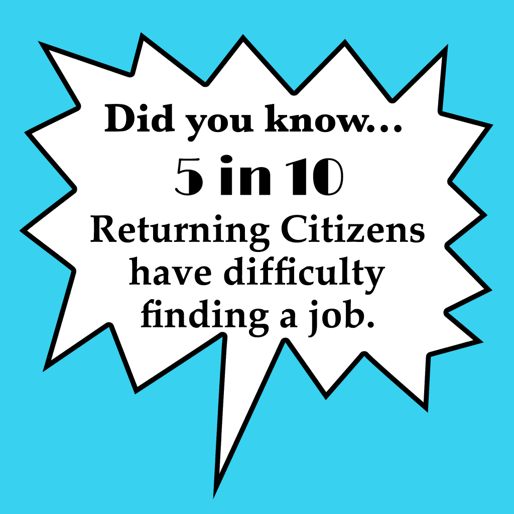 Blameless and Forever Free Ministries reports, Did you know 5 in 10 returning citizens have difficulty finding a job?
