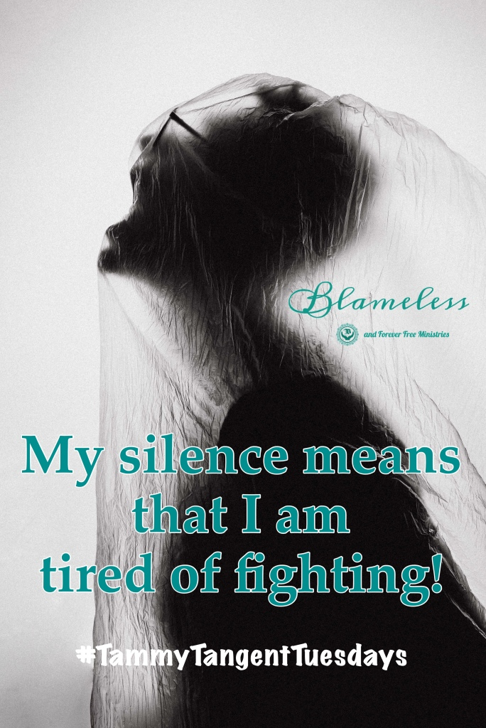 #TammyTangentTuesdays Tammy Ingram on demoralizing human pain.    My silence means I'm tired of fighting.